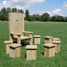 Freestanding Wood Story Circle 8x Stools and Chair  medium