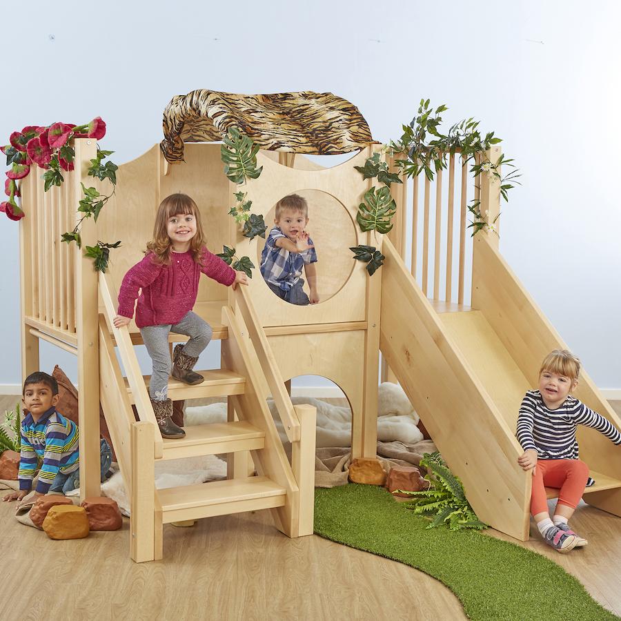 Indoor Wooden Climb And Slide Unit