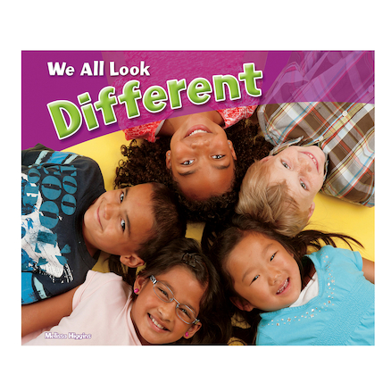 Book cover - white and green title on purple banner above color photo image of children of different ethnic backgrounds