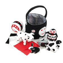 Black and White Soft Baby Toys and Basket  medium