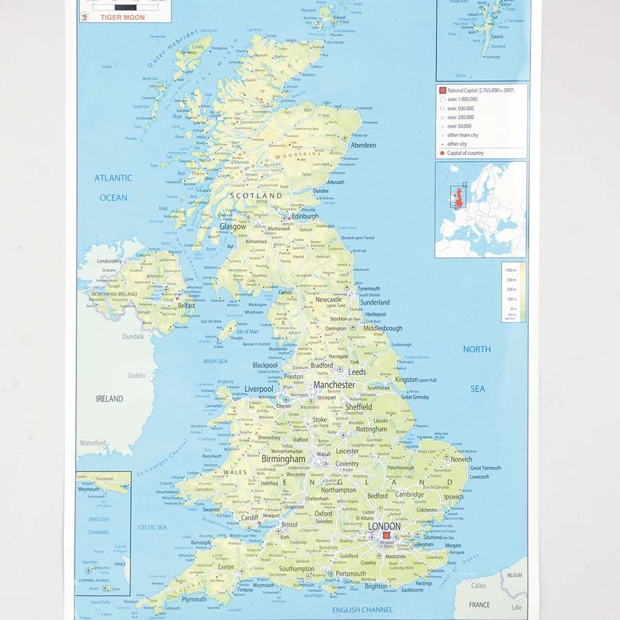 Map Of Uk To Buy.Buy Uk Physical Map A1 Tts International