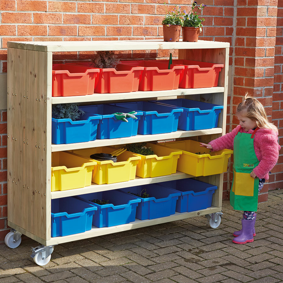 Large Outdoor Wooden Mobile Shelving Unit
