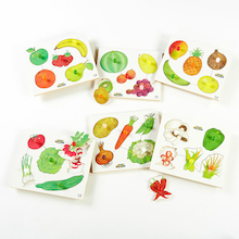 Wooden Healthy Eating Puzzles 6pk  medium
