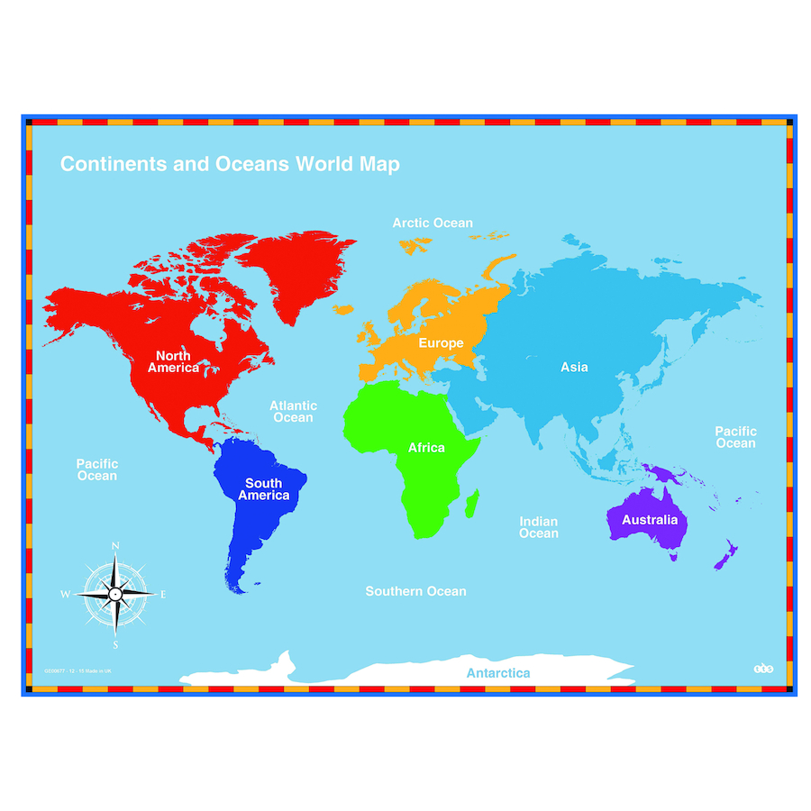 Buy Continents And Oceans Maps TTS International - Where to buy maps