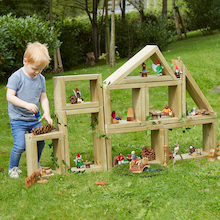 Outdoor Small World Wooden Building Blocks  medium