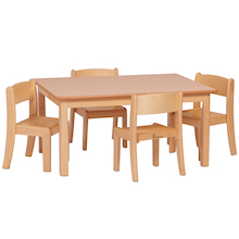 Rectangular Wood Table and 4 Stacking Chairs  medium