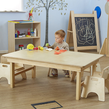Natural Wooden Folding Early Years Table  medium