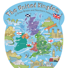Outdoor UK Wall Map with Famous Landmarks  medium
