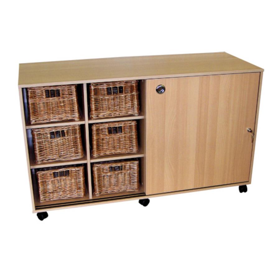 Buy Sliding Doors Storage With 12 Deep Wicker Baskets Tts
