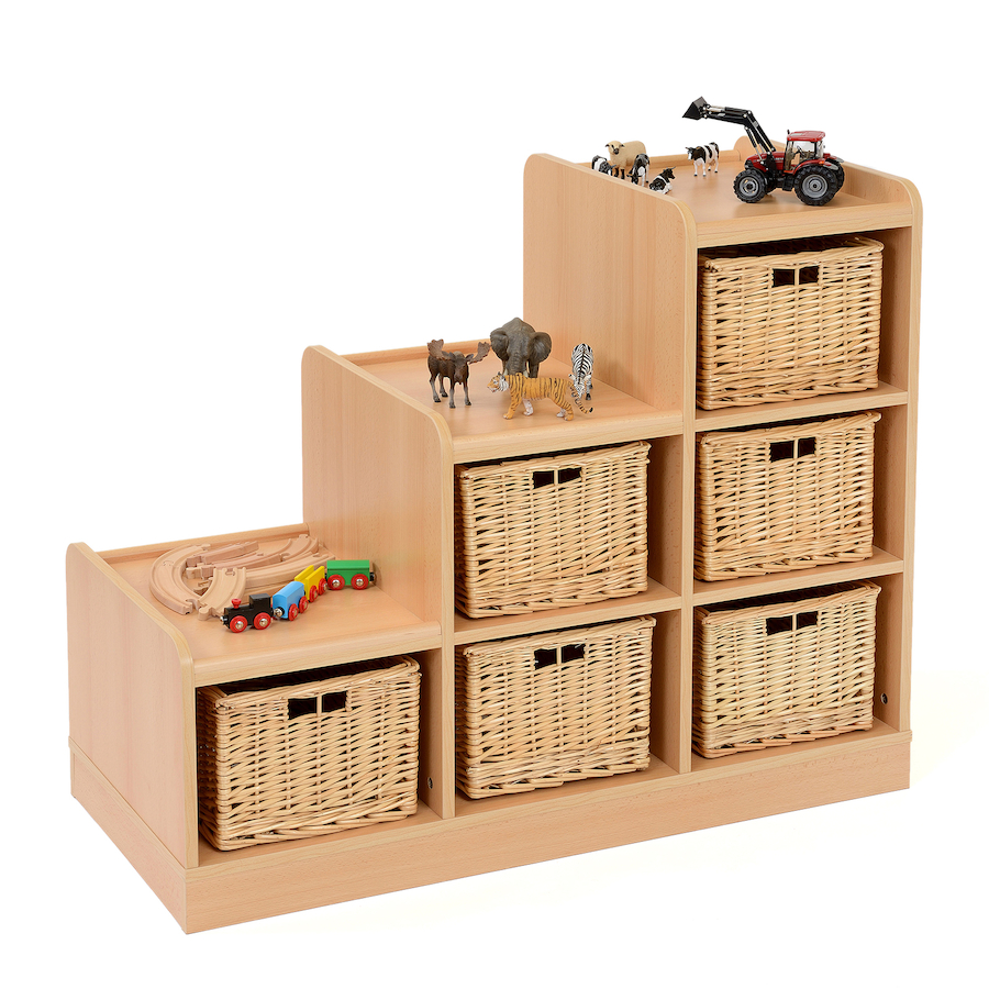 Good ... Tiered Storage Units With Wicker Baskets Small ...