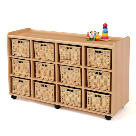 Storage Unit With 12 Deep Wicker Baskets Large