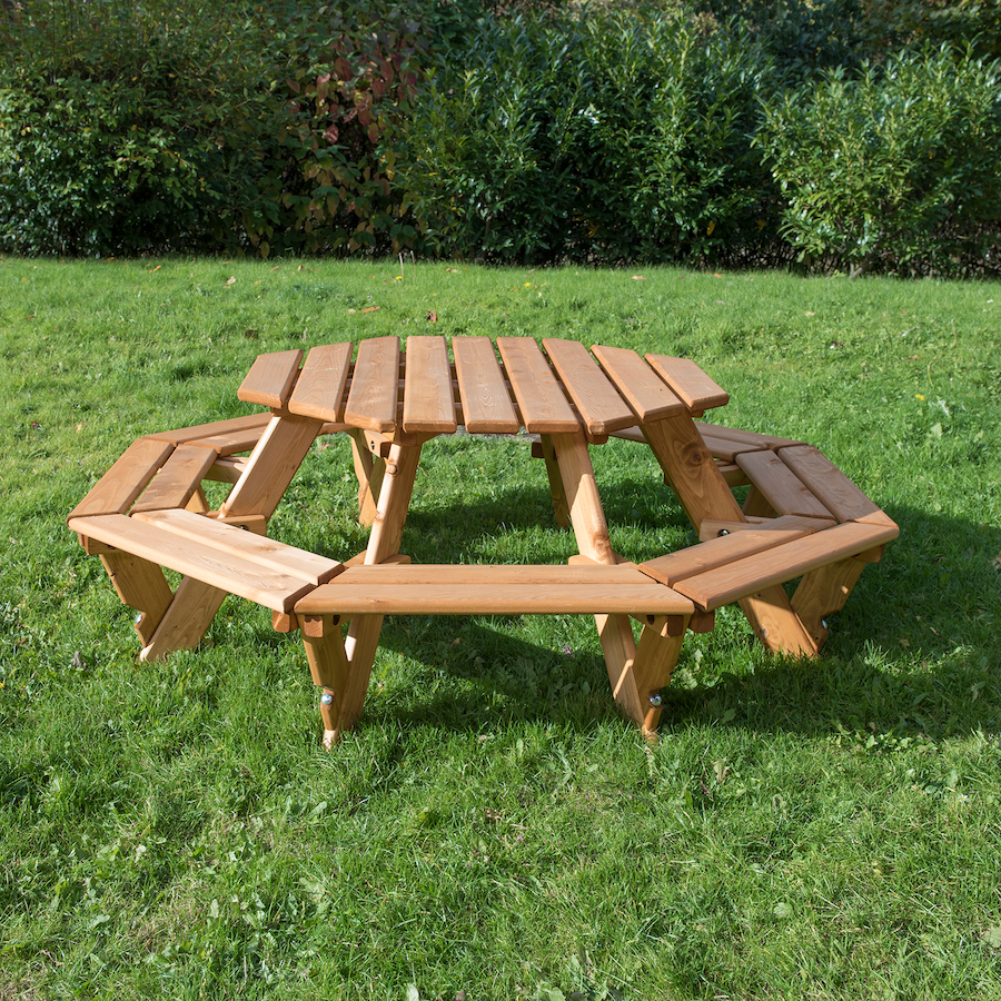 Outdoor Eight Seater Octagonal Picnic Bench Small