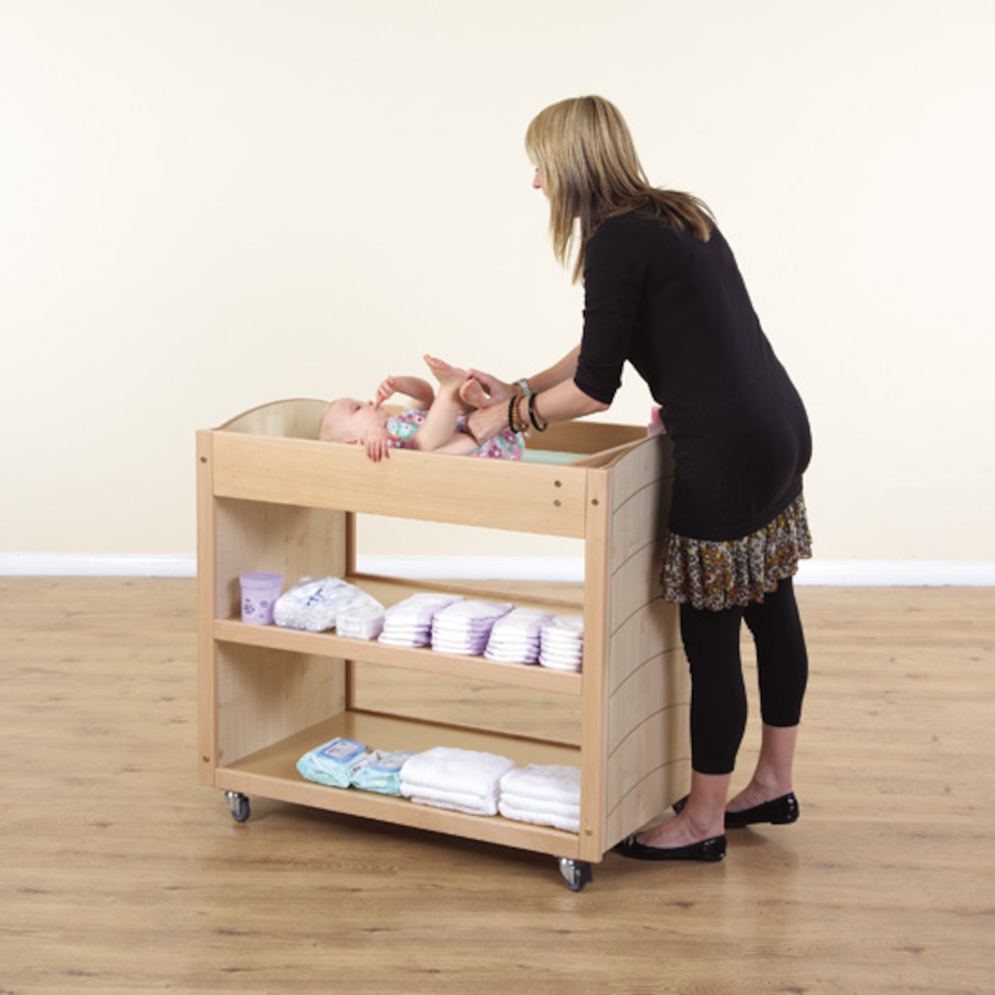 Wooden Mobile Baby Changing Unit