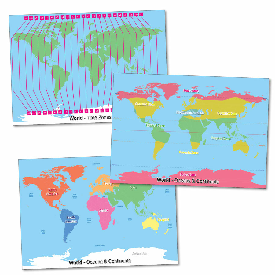 Buy Climate and Time Zones World Maps A1 3pk | TTS International