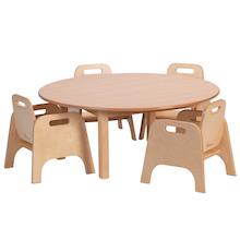 Circular Wooden Table plus 4 Sturdy Chairs  medium