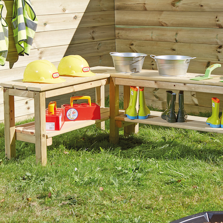 Outdoor Wooden L Shaped Table  large