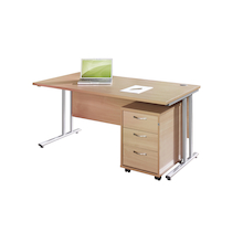 Rectangular 1200mm Desk and 3 High Pedestal Beech  medium