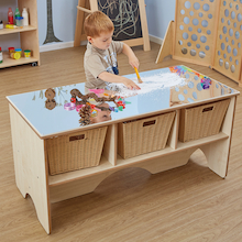 Toddler Mirror Activity Table With Shelves  medium