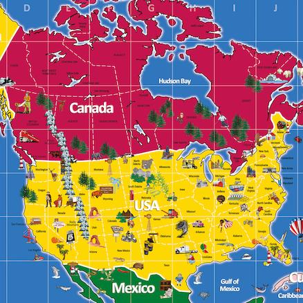 Buy North America Map 210 X 120cm Tts International