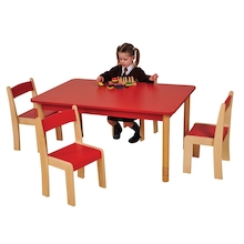 Height Adjust Rectangular Wooden Classroom Tables  medium