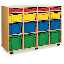 Mobile Tray Storage Unit With 16 Mixed Size Trays  medium