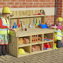 Outdoor Wooden Builder's Role Play Bench  medium