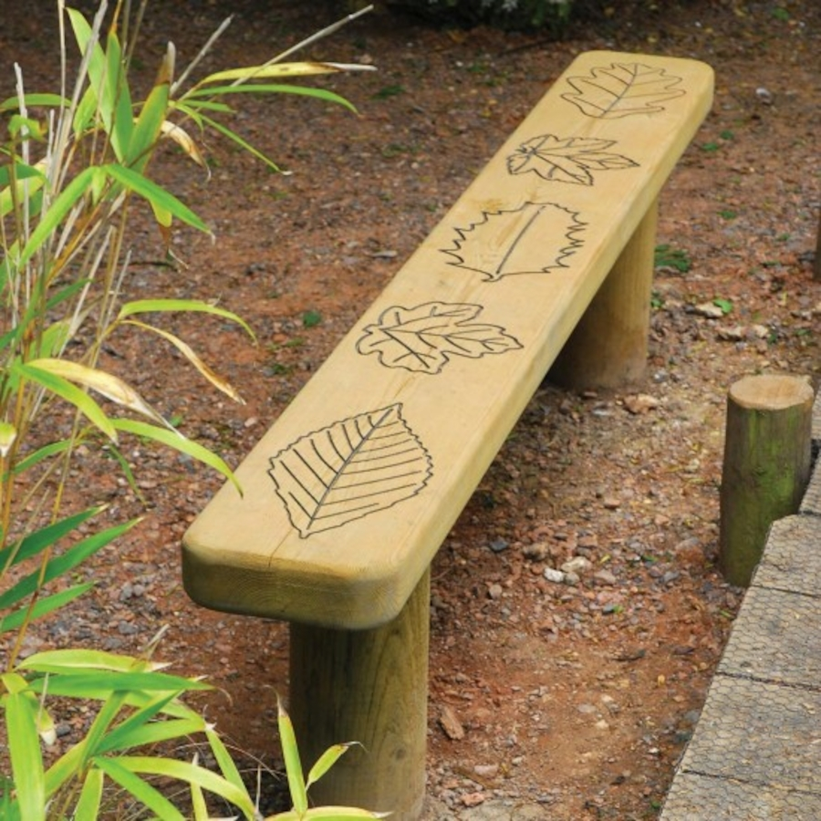 Engraved Outdoor Wooden Bench