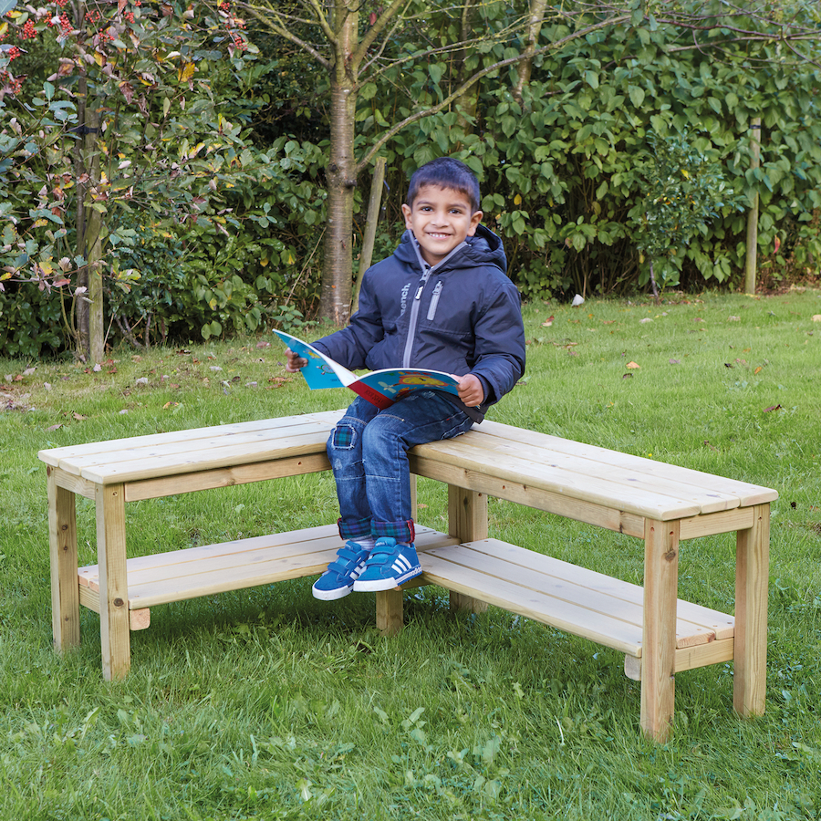 Outdoor wooden l shaped table large tts school resources online shop
