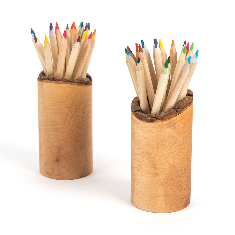 Buy Wooden Pencil Pots And Pencils Set 2pk Tts International