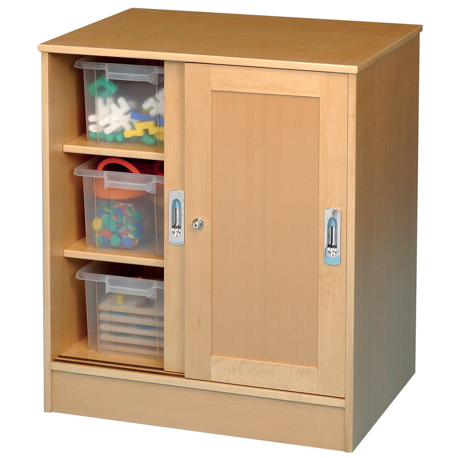 Medium Beech Lockable Storage Cupboard