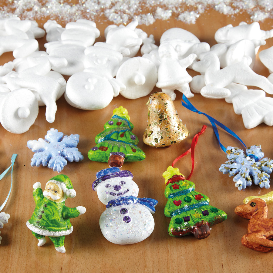 assorted polystyrene christmas decorations 35pk
