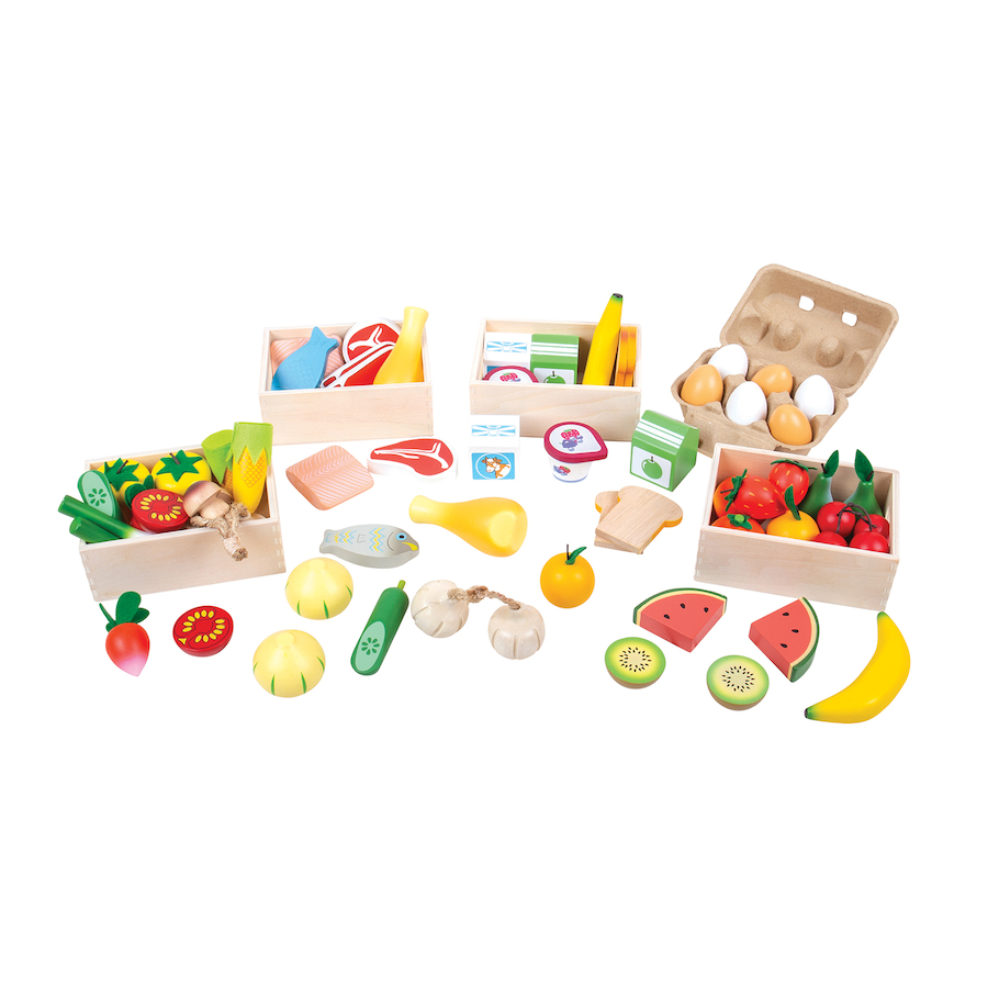 Buy Role Play Bumper Wooden Food Set In Crate Tts International