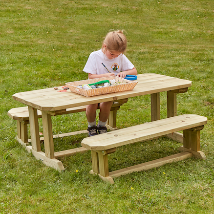 Outdoor Wooden Table \x26 Benches  large
