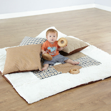 Neutral Textured Baby Mat and Cushions  medium